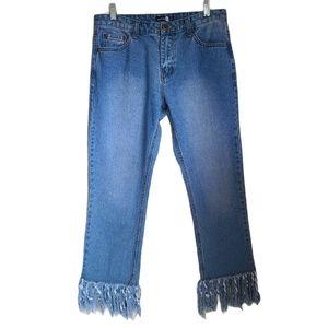 boohoo fringe bottom high rise jeans size 8